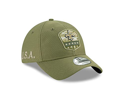 New Era New Orleans Saints 9twenty Adjustable Cap On Field 2019 Salute to Service Olive - One-Size -