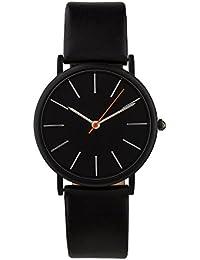 """SIX """"Geschenk"""" Unisex Armband Uhr schlicht und schwarz mit schwarzem Ziffernblatt und orangefarbenen Zeiger mit hochwertiger Geschenkbox (274-374)"""