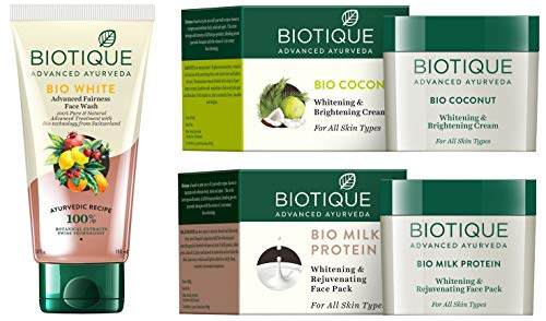 Biotique Bio White Advanced Fairness Face Wash + Biotique Bio Coconut Whitening and Brightening Cream For All Skin Types + Biotique Bio Milk Protein Whitening & Rejuvenating Face Pack For All Skin Types