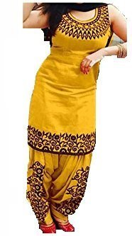 Women's Cotton Silk Salwar Suit Dress Material (surti funda _SalwarSuit_patiyala_UnStitched) (yellow)
