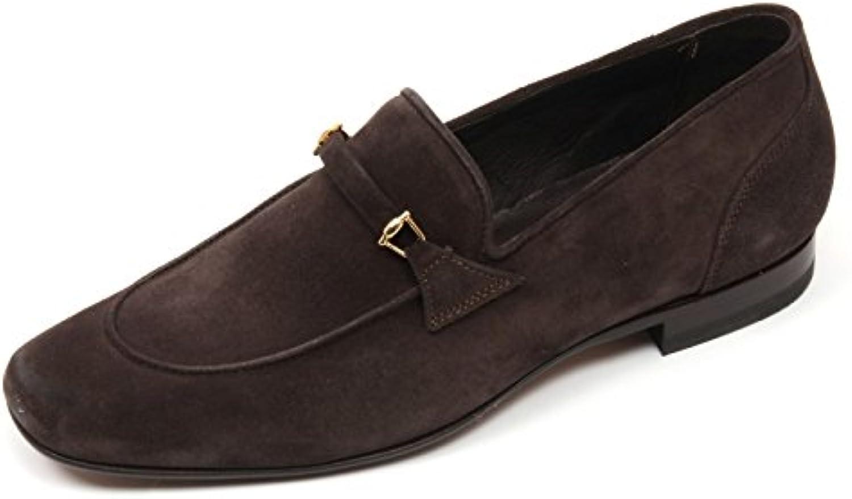 C3808 mocassino uomo ALTIERI MILANO scarpe marrone scuro loafer shoe man