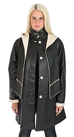 Dames Manteau En Cuir Parka Garniture Beige Noir Réconforter Fit 3/4 De Long Robe à Capuche Avec Echarpe Veste - Pat (S - EU 36)