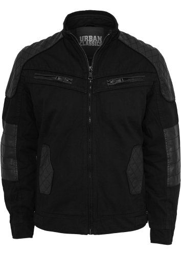 Urban Classics Herren Cotton/Leathermix Racer Jacke Black