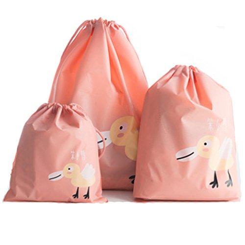 Albeey 3 Stück Kleidertaschen Set Kofferorganizer Packtaschen Kordelzug Reisetasche Schuhbeutel (Rosa)