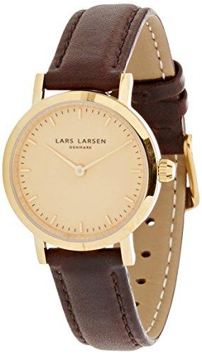 Lars Larsen 124GGBLL - Reloj con esfera dorada y correa de piel marrón