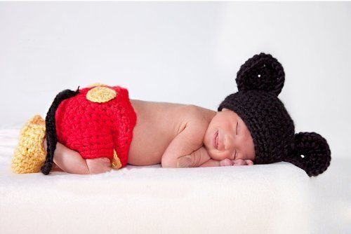 Image of Mickey Mouse, Newborn Baby Girl Boy Crochet Knit Costume Photo Photography Prop Hats Outfits