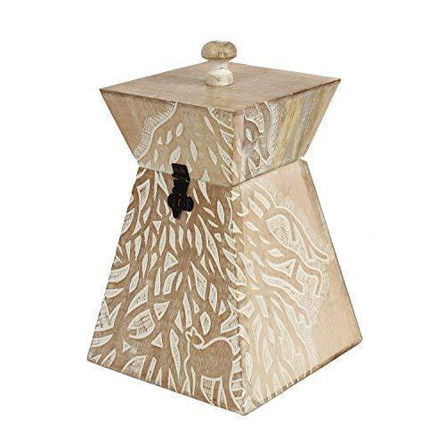 Storeindya Geschenke Handgefertigte Aufbewahrungs box aus Holz, Wooden Canister Box Einmachglas Kanister Boxen für Gewürze Schmuck kaffee Cookie Truhe Andenken Veranstalter Küchen zubehör