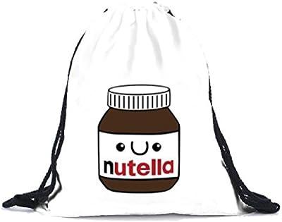 SMARTLADY Unisex Mochila con Cordón, Creativo 3D Impresión Botella de Nutella Bolsos Mochila Bolsa de Viaje