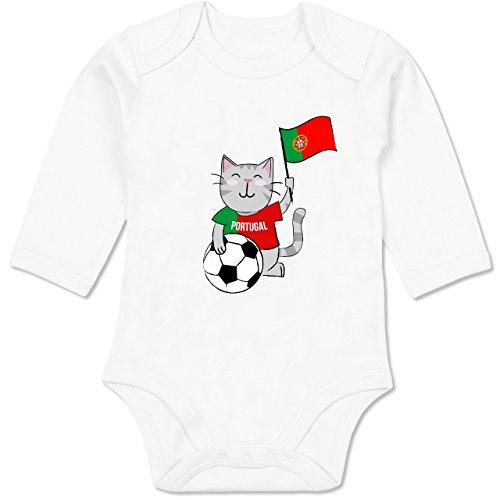 Shirtracer Fußball-Europameisterschaft 2020 - Baby - Fußball Katze Portugal - 3-6 Monate - Weiß - BZ30 - Baby Body Langarm