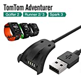 Luxacury TomTom Spark/Spark 3 chemin de 2 3/Aventurier de remplacement de chargement USB Clip de câble de synchronisation de données pour TomTom Aventurier TomTom Golfer GPS montre de course Fitness