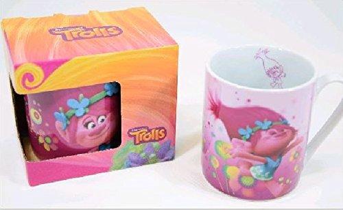 Trolls Porzellan Kaffeebecher Kinderbecher in Geschenkverpackung 180ml 2 verschiedene (Für Kinder Indische Kostüm Polizei)