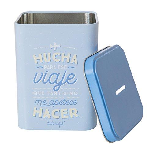 Mr; Wonderful Wom02965 Hucha Mr; Wonderful Para Ese Viaje Que Tantísimo Me Apetece Hacer, Azul, 11.00X11.00X14.00 Cm