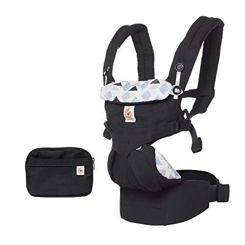 ERGObaby Babytrage für Neugeborene ab Geburt bis 20kg, 4-Positionen Omni 360 Triple Triangles, Ergonomische Baby-Tragetasche für Bauch Rücken