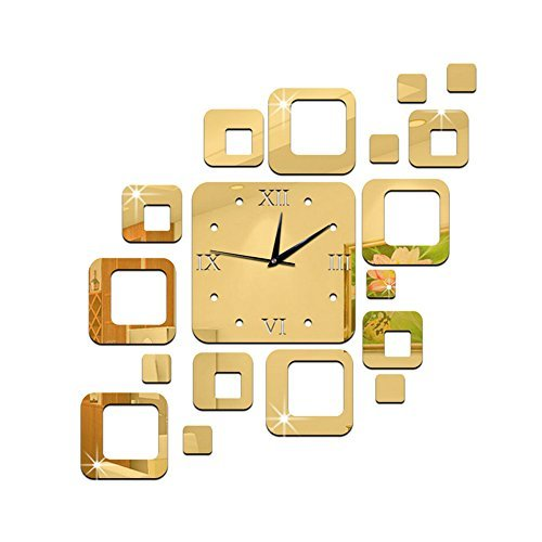Schlafzimmer Antik Stil Uhr (Alxcio DIY Frameless Wanduhr Nicht-ticken Stumm 3D Acryl Aufkleber Wandtattoo Modern Abnehmbar Dekoration Uhr für Wohnzimmer, Büro, Schlafzimmer und Küche, Stil B Gold)