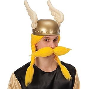 Carnival Toys - Peluca de vikingo con bigotes en maletín, color amarillo (1431)