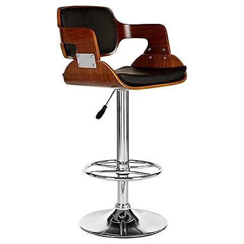 Premier Housewares Bar Stool Walnut and Black Leather Effect (89