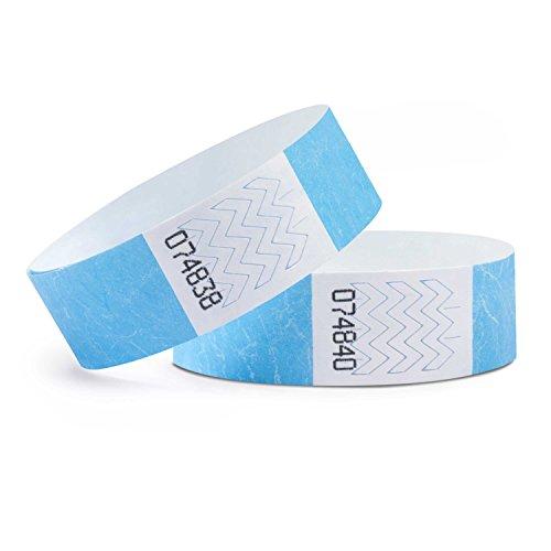 linie zwo®, Pack de 100 Pulseras de Seguridad Tyvek® 19 mm, Azul...