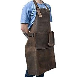 """Gusti Leder studio """"Sander"""" Delantal de Cuero con Interior Impermeable 73 x 85,5 cm Herramientas Ropa de Trabajo Cocina Taller Utensilios Protección Piel Auténtica Marrón 2G27-L-20-9wp"""