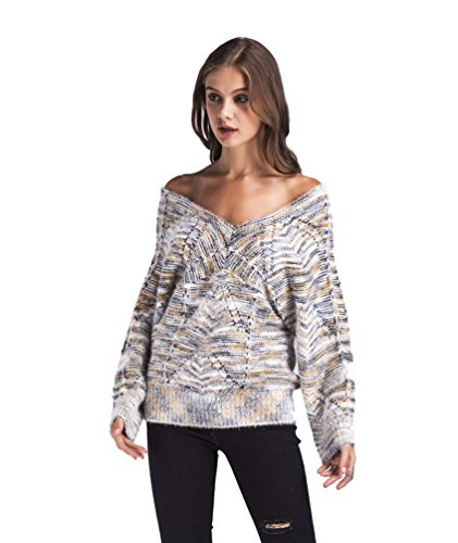 WanYang Femmes Casual Pull Sweater Manches Longues Col V Chandails Tops Pull Casual Pullover Top Multicolore