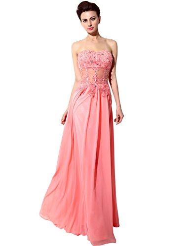 Sarahbridal Damen Kleid Korallenrot