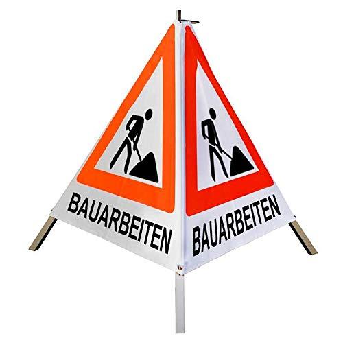 """Warnpyramide/Faltsignal Schaufelmann(VZ123)""""BAUARBEITEN"""" 70cm - weiß tagesleuchtend, leicht"""