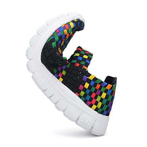 L-RUN Frauen Wasser Schuhe gewebt leichte Schlupf auf Sportschuhe Casual Schwarz