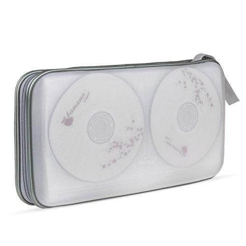 Pingenaneer 80 CD/DVD Aufbewahrung Tasche Hard Plastik CD-Wallet/Mappe mit Verschluss Reißverschluss Anti-Kratzer und Platzsparend - Transparent