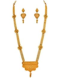 JFL - Traditional Ethnic One Gram Gold Plated Floral Designer Bead Long Necklace Set With Earring For Women &...