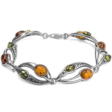Noda bracelet de perles ovales en argent 925 et ambres multicolores 17 cm