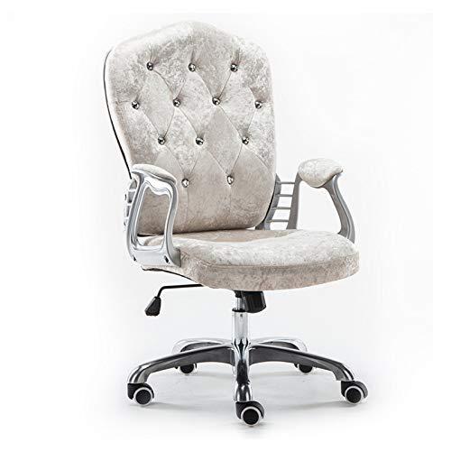 Esszimmerstühle Verstellbarer Bürostuhl Flanell Computer Stuhl, Gepolsterter Schreibtisch Komfort Mit Armlehnenunterstützung Gaslift Ergonomischer Stuhl,Beige -