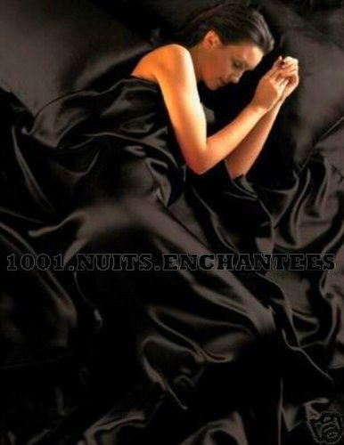 6PC Satin Silk Duvet Cover Complete Bed Sheet Set, Super King, Black by SATIN (6pc-duvet-set)