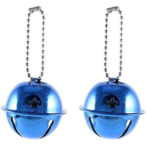 Cadena de la bola de cierre de la estrella del agujero del anillo de Bell del árbol de Navidad decorativo 2 PC Azul