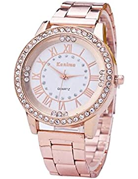 Covermason Herren Damen Quarz Armbanduhr Uhren Kristall Strass rostfrei Stehlen Analog (Rose Gold)
