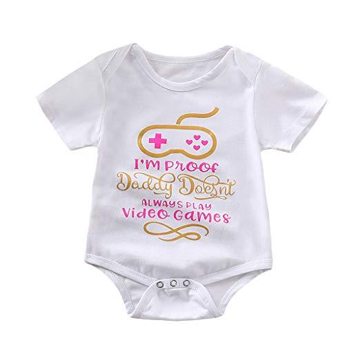 Mitlfuny Unisex Baby Kinder Jungen Zubehör Säuglingspflege,Neugeborenen Baby Mädchen Jungen Kurzarm Brief Strampler Bodysuit Kleidung Outfits