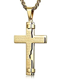 Necklace Unisex for Friends Boys Stainless Steel Cross Necklace Engraved Gift with Gift Box Gold