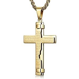 Halskette Herren Damen Kreuz Kette Gravur Edelstahl für Freund Jungen Geschenk mit Schmuckbox Gold