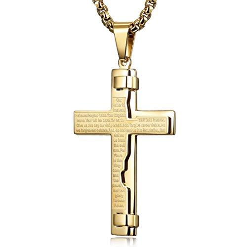 WISTIC Halskette Herren Damen Kreuz Kette Gravur Edelstahl für Freund Jungen Geschenk mit Schmuckbox Gold (24)