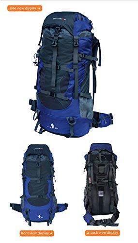 Gipfel 80L interne Frame Rucksack Wasserdicht Wandern Trekking Rucksack Tasche mit Regen Cover für Klettern, Camping, Wandern, Reisen Blau - blau