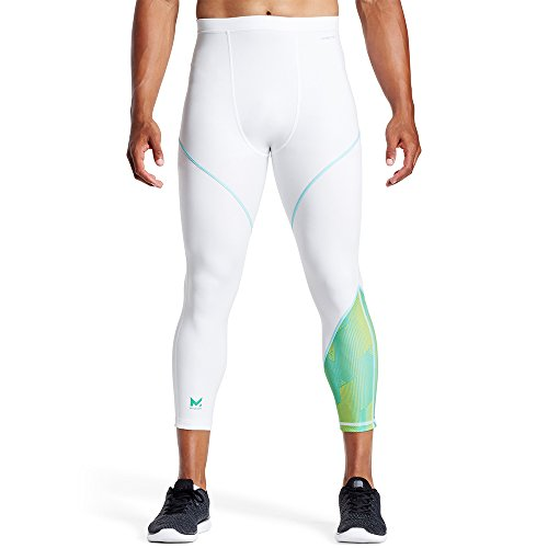 Tight White Collection (MISSION X Wade Collection Kompression 3/4 Tights, Herren, Maze Aqua Yellow/White)