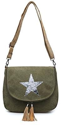 Big Handbag Shop Canvas Fabric Trendy Flapover Zip Round Tassel Medium Size Glitter Star Bucket Style Cross Body Shoulder Bag