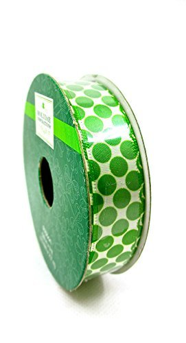 Jo-ann's Holiday Inspirations St.Patrick's Day Ribbon,white with Green Dots,5/8x9ft. by Holiday Inspirations -