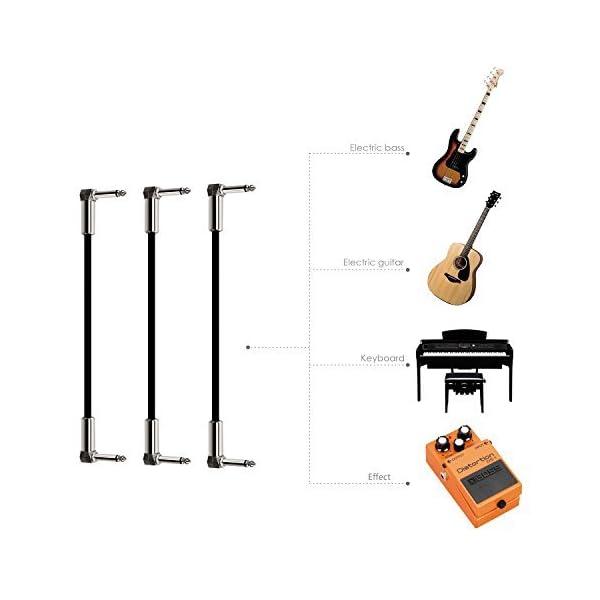 Mugig Cavo Patch Cavo audio professionale senza rumore 15 cm Cavo effetto angolo a destra (Pachetto di 3)