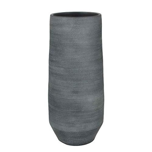 MICA Decorations Deko Vase Jordi Handgemacht - H 60 x Ø 26 cm - Blumenvase - Bodenvase hoch - Hoher Übertopf Innen (Grau)