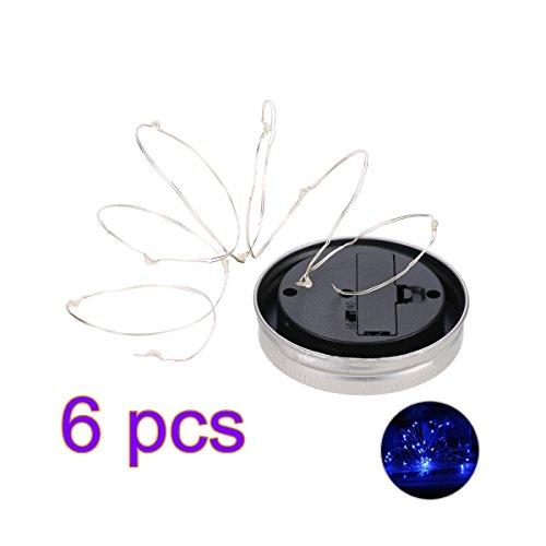 Ledmomo Lampes solaires de couvercles de bocaux Mason 2 m 20 Micro LED Starry Guirlande lumineuse ajustement régulier Bouche bocaux pour décor de jardin de terrasse solaire Laterns 6-pack (lumière bleue)