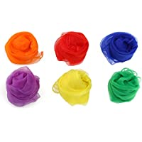 Mobestech 6 Colores Bufandas Bufanda de Gasa Haciendo Juegos Malabares Bufandas cuadradas de la Gasa de la Danza