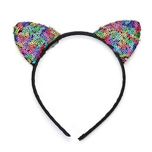 Yazilind Metallic Farbe Pailletten Katze Ohren Stirnband Cos Dress Up Haar Stirnband Zubehör Multicolor (Daisy Up Dress)