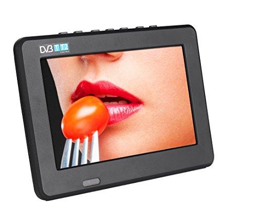 Mugast 7 Zoll Tragbarer DVB-T/T2 Fernseher,Portable DVB-T/T2 16:9 HD Digital Analog TV Fernseher,Unterstützt 1080p Video/AVI/MP4/ MPEG1-4/MP3/TF/USB,für Auto Schlafzimmer Wohnwagen EU(Schwarz)