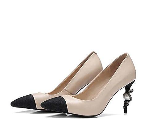 Onfly Dame Spitz Leder Pumps Schlange geformte Ferse Perlendekoration High Heels Schuhe Scarpin Ol Arbeit Gericht Schuhe , apricot , 39