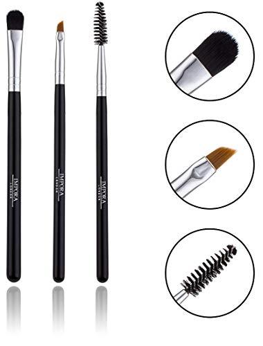 Augenbrauenpinsel-Set. Enthält einen abgewinkelten Brauenpinsel, einen Spoolie- und einen kleinen Shader-Pinsel für die Anwendung von Highlighter auf dem Stirnbein.