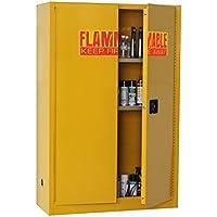 edsal sc450F-p armario de seguridad de acero para líquidos inflamables, 2estantes, 2puerta manual estrecha, 45L capacidad, 1653mm Altura x 1092mm ancho x 457mm de profundidad, amarillo